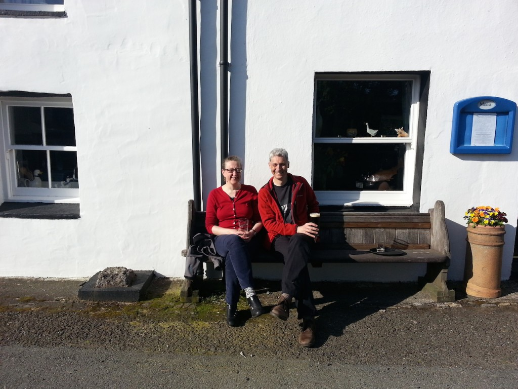 Sitting in the sun outside Lochbay Seafood Restaurant, Skye