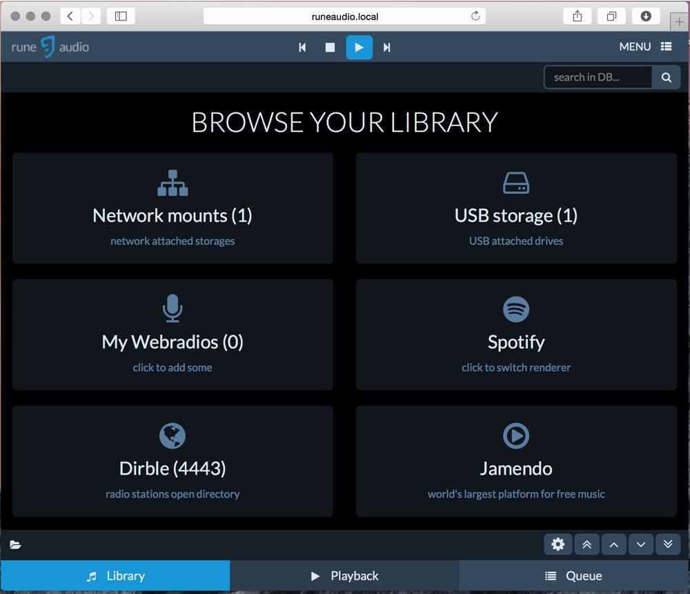 Select library on NAS, USB storage, Spotify, etc