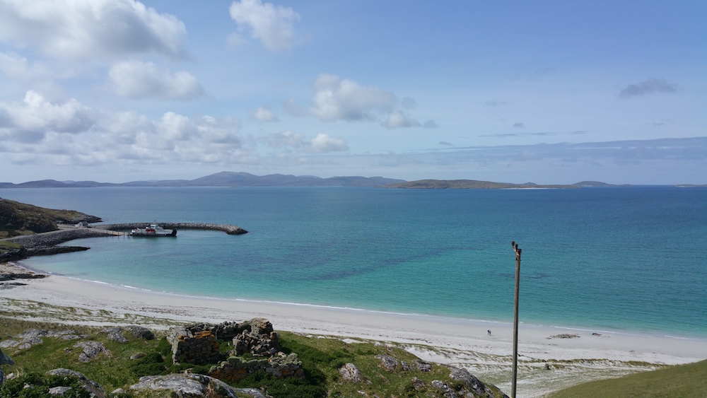 Looking back to the Eriskay ferry from the hill