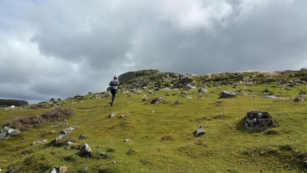 Carol walking up to the Dun Beag broch