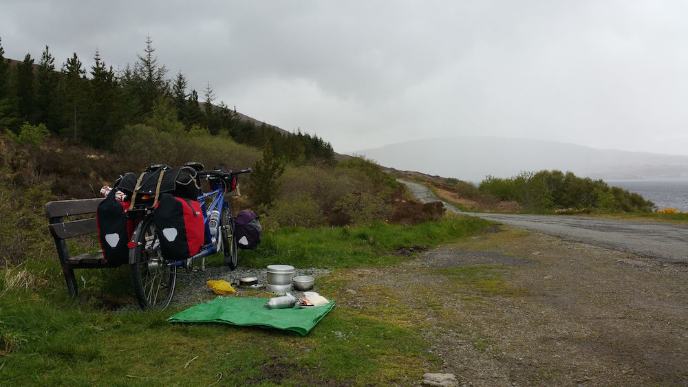 Just after we got lunch cooking, a hefty rain shower blew in!